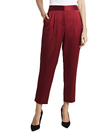 Women's Slim Leg Front Pleat Soft Satin Pants