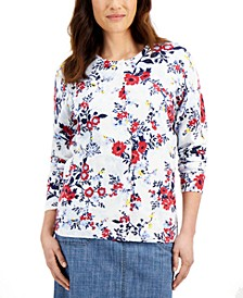 Petite Floral-Print Cardigan, Created for Macy's