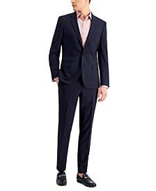 Men's Slim-Fit Superflex Stretch Dark Blue Micro-Plaid Wool Suit Separates