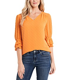 Clip-Dot Ruffle-Sleeve Blouse