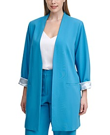 Plus Size Roll-Sleeve Topper Jacket