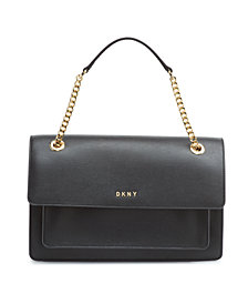 DKNY Large Chain Leather Flap Crossbody