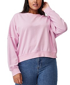 Women's Trendy Plus Size Harper Crew Crop Pullover