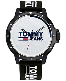 Tommy Hilfiger Black Silicone Strap Watch 44mm