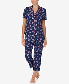 Printed Cropped Pants Pajamas Set
