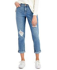 Distressed Cuffed Girlfriend Jeans, Created for Macy's