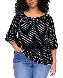 Plus Size Logo-Dot Gathered Peasant Top