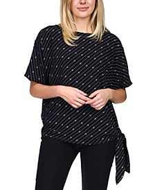 Logo-Print Side-Tie Top, Regular & Petite Sizes