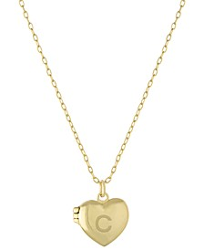 """Initial Heart Locket Pendant Necklace in 18k Gold-Plated Sterling Silver, 16"""" + 2"""" extender, Created for Macy's"""