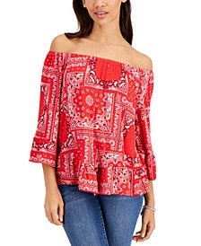 Petite Printed On-Off-Shoulder Top, Created for Macy's