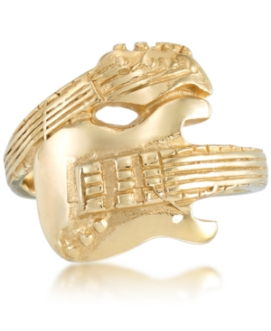 Men's Guitar Ring in Yellow Ion-Plated Stainless Steel