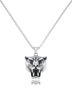 """Men's Panther Head 24"""" Pendant Necklace in Stainless Steel"""