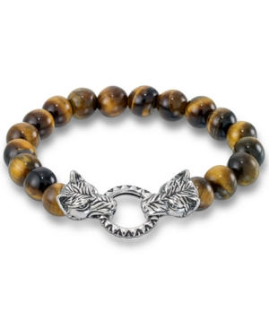 Men's Tiger's Eye Bead Wolf Head Stretch Bracelet in Stainless Steel (Also in Onyx & White Agate)