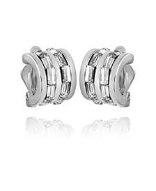 Women's Crystal Baguette Hoop Earring