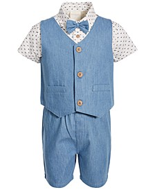 Baby Boys Chambray Cotton Vest, Shorts & Shirt Set, Created for Macy's