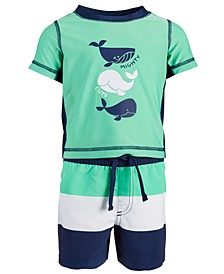 Toddler Boys 2-Pc. Whale Rash Guard Set, Created for Macy's