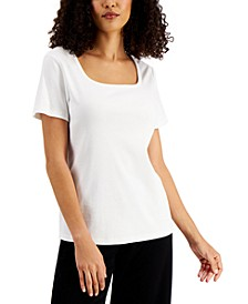 Petite Cotton Square-Neck Top, Created for Macy's