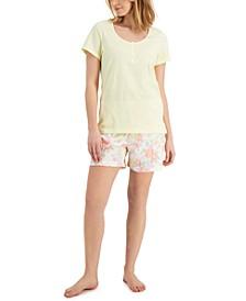 Cotton Henley & Shorts Pajama Set, Created for Macy's