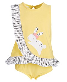 Baby Girls Bunny & Dot Cotton Sunsuit, Created for Macy's