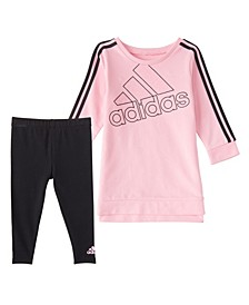 Little Girls Crew 3 Stripes Dress Tight Set