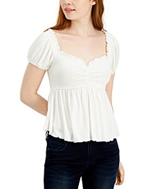 Juniors' Puff-Sleeve Babydoll Top