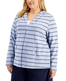 Plus Size Rachel Striped Hoodie, Created for Macy's