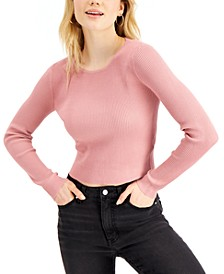 Juniors' Open-Back Rib-Knit Sweater