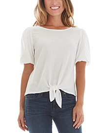 Juniors' Bubble Sleeve Tie Front Top