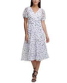 Textured Faux-Wrap Dress