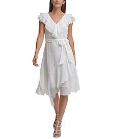 Ruffled Faux-Wrap Dress