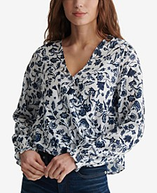 Printed Surplice-Front Top