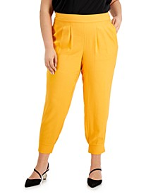 INC Plus Size Pleat-Front Jogger Pants, Created for Macy's