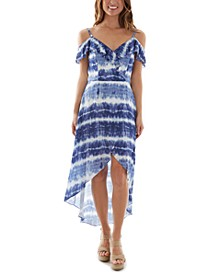 Juniors' Tie-Dyed Off-The-Shoulder Dress