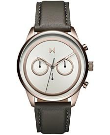 Men's Powerlane Gray Leather Strap Watch 43mm