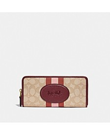 Signature Jacquard Horse and Carriage Slim Accordion Zip Wallet