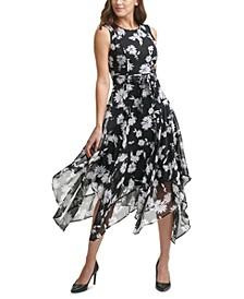 Floral-Print Chiffon Handkerchief-Hem Midi Dress