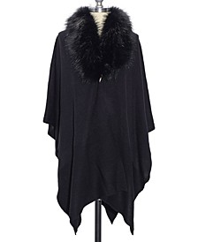 Women's Faux Fur Collar Ruana