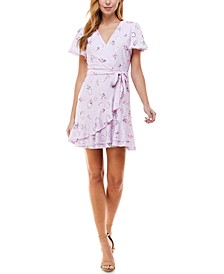 Juniors' Floral-Print Eyelet Flutter-Sleeve Dress
