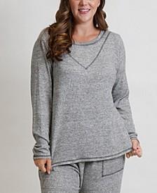 Women's Plus Size Cozy Contrast Stitch Tee