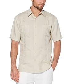 Short-Sleeve Embroidered Guayabera Shirt