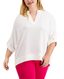 Plus Size Solid Textured V-Neck Top
