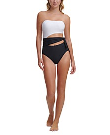 Colorblocked Cut-Out Bandeau One-Piece Swimsuit