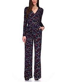 Printed Button-Front Jumpsuit