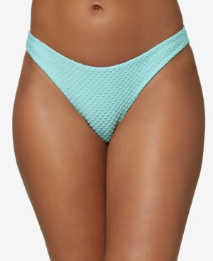 O'neill Juniors' Rockley Saltwater Solids Textured Bikini Bottoms Women's Swimsuit In Sea Glass
