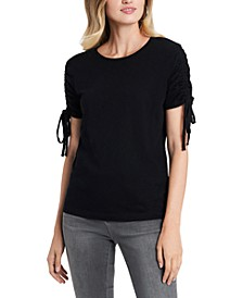 Ruched Tie-Sleeve Cotton Top