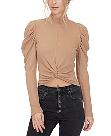 Twist-Front Puff-Sleeve Top