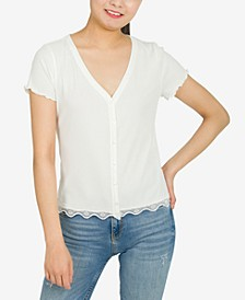 Juniors' Lace Trim Button-Up Top