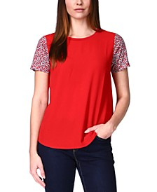 Printed-Sleeve T-Shirt