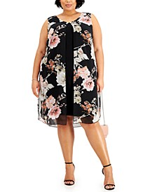 Plus Size Floral-Print Popover Sheath Dress