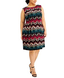 Plus Size Zig Zag Fit & Flare Dress